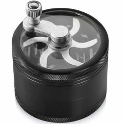 2.5 Inch Spice Herb Grinder Black With Crank Handle Heavy Du