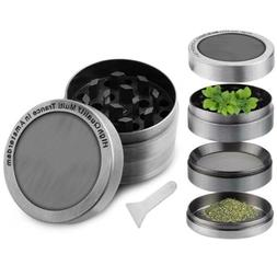 4 Piece Herb Tobacco Grinder Magnetic Spice Crusher Zinc All