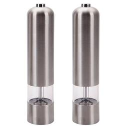 2 Kitchen Stainless Steel Electric Salt Pepper Spice Mill Gr