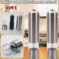 2 Pc Stainless Steel Electric Pepper Salt Spice Mill Grinder