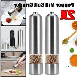 2X Stainless Steel Electric Salt Pepper Spice Mill Grinder M