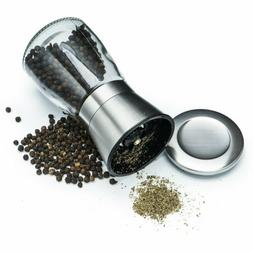 3Pcs Salt and Pepper Grinder Brushed Stainless Steel Glass B