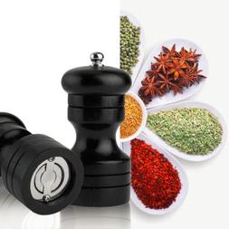 "4"" Manual Wood Pepper Salt Spice Corn Mill Grinder Restauran"