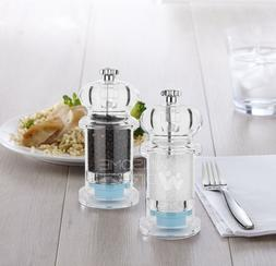 Acrylic Salt & Pepper Mill Set Grinder Spice Shaker Pot Kitc