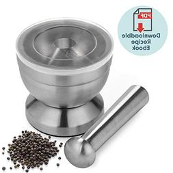 18/8 Stainless Steel Mortar and Pestle Spice Grinder with Li