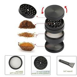 50mm Black Stainless Steel Spice Herb Grinder Cylinder 4 Pie