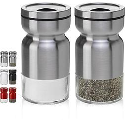 CHEFVANTAGE Salt and Pepper Shakers Set with Adjustable Pour
