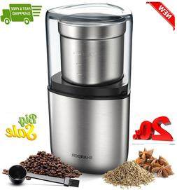 Electric Coffee Bean/Spice Grinder, Removable Bowl & Stainle