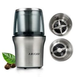 Secura Electric Coffee Grinder & Spice 2 Stainless-Steel Bla