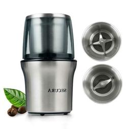 """Secura Electric Coffee Grinder and Spice 7.7"""" x 4.7"""", Stainl"""