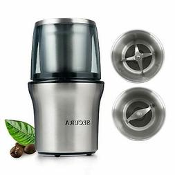 Electric Coffee Grinder and Spice Grinder with 2 Stainless S
