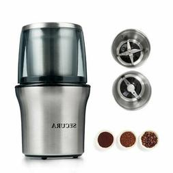 Secura Electric Coffee Grinder  Spice Grinder with 2 Stainle