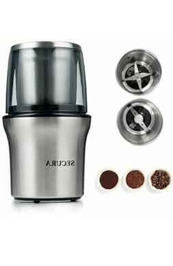 Secura Electric Coffee Grinder Spice Grinder with 2 Stainles