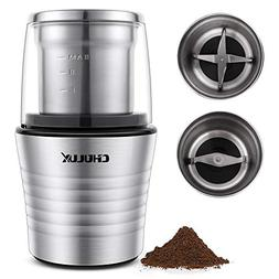 CHULUX Electric Spices and Coffee Grinder with 2.5 Ounce Two