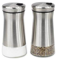Elegant Salt And Pepper Shakers - Stainless Steel Set Of 2 -