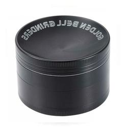 Golden Bell Herb Grinder with Concave Lid - 2.36 Inch, Black