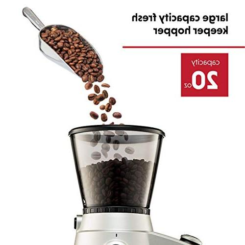 Ariete Electric Grinder Professional Duty Stainless Conical Burr - Ultra Grind, Adjustable 15 Fine - Coarse Grind Size Settings