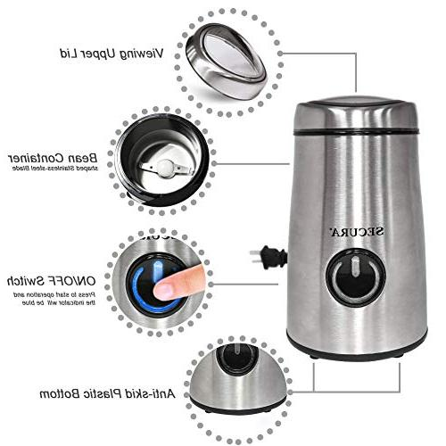 Secura Electric Coffee and Spice Grinder Stainless-Steel Blades