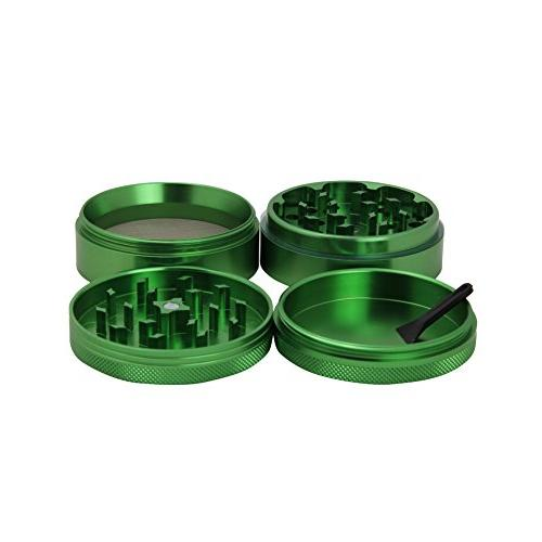 DCOU Aluminium Metal Spice with Pollen Scraper included - 2 Inches 4 Green