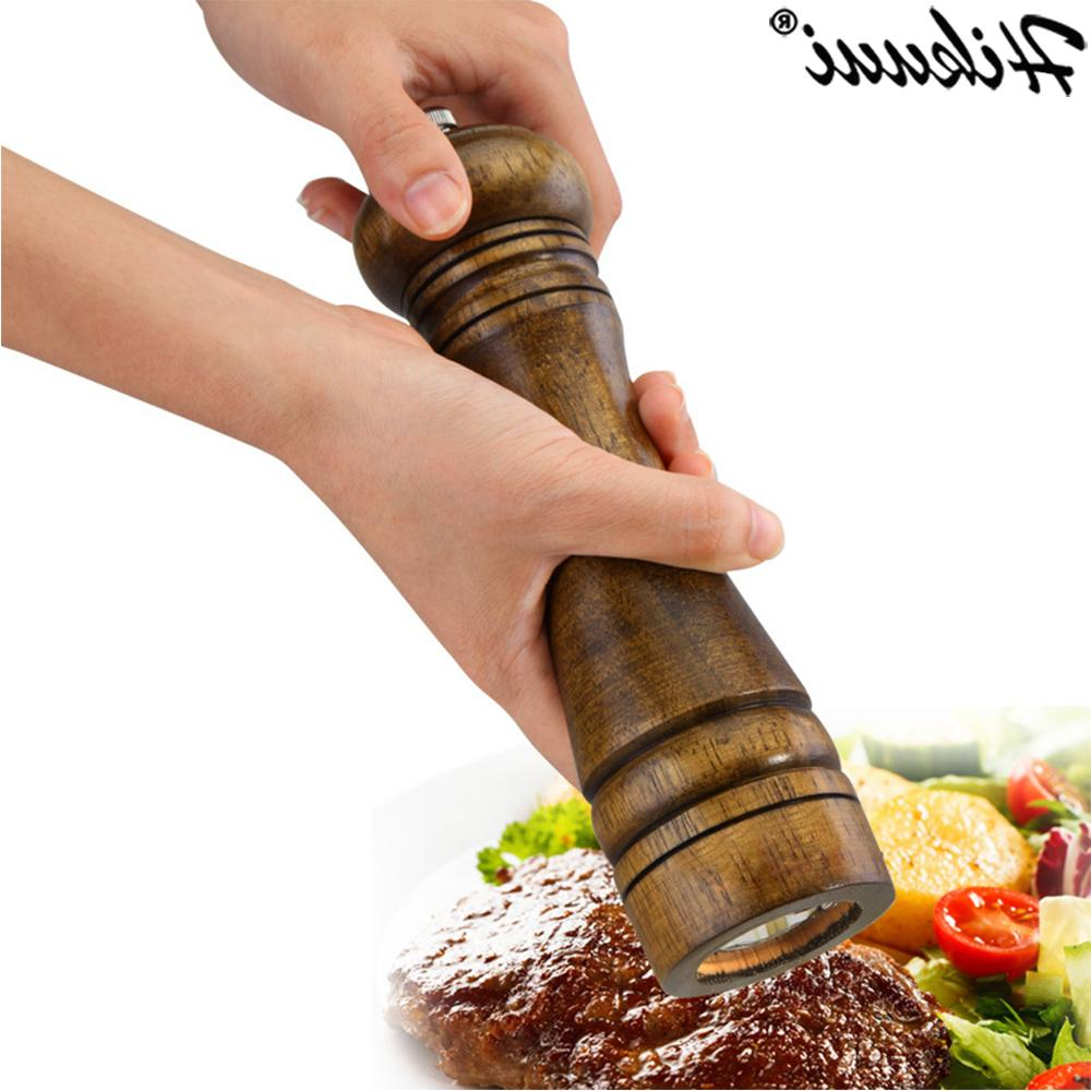 HIKUUI Classical Wood <font><b>Pepper</b></font> <font><b>Spice</b></font> Mill Set Handheld Seasoning Mills BBQ Tools Set