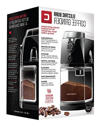 Chefman Coffee Grinder Burr Mill 8oz Beans Large & 17 2-12 Easy Included