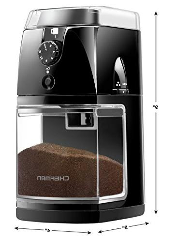 Chefman Coffee Electric Burr Freshly Beans 17 Grinding 2-12 Cups, Easy One Touch Cleaning Included