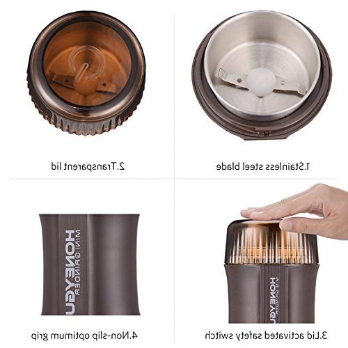 Coffee Grinder & Spice Grinder HoneyGuaridan 200W with Blade Herb Lid Activated 2 Brush(CG-8220) - Year Warranty