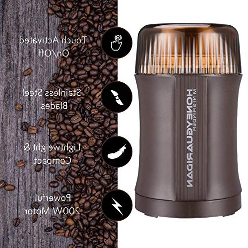 Coffee Grinder Electric Nut & Spice 200W with Stainless Steel Blade Bean Herb Activated Safety Brown 2 - Year