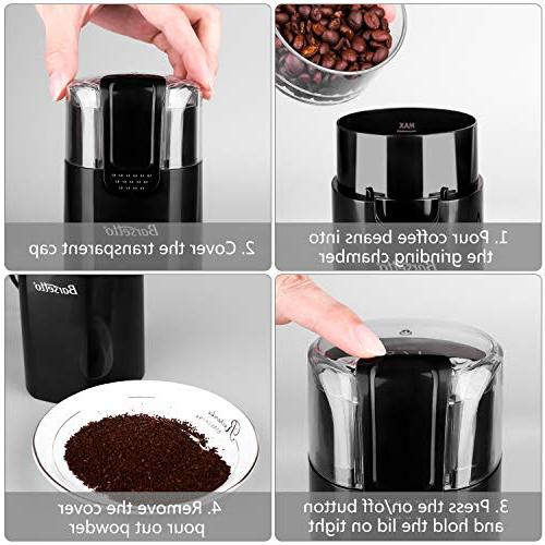 Coffee Grinder One-Touch HyperGrind Steel Large and Upgrade for Coffee Bean Spices Herbs Nuts Grains