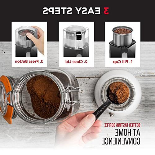 Chefman Coffee Grinder 250 Watt Mill Freshly Grinds 2.5 Beans, Operation, & Safe Stainless Cup &