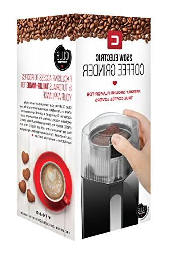 Chefman Coffee Powerful 250 Watt Electric Freshly Grinds Beans, Easy Operation, Dishwasher Safe Stainless Cup & Blade,