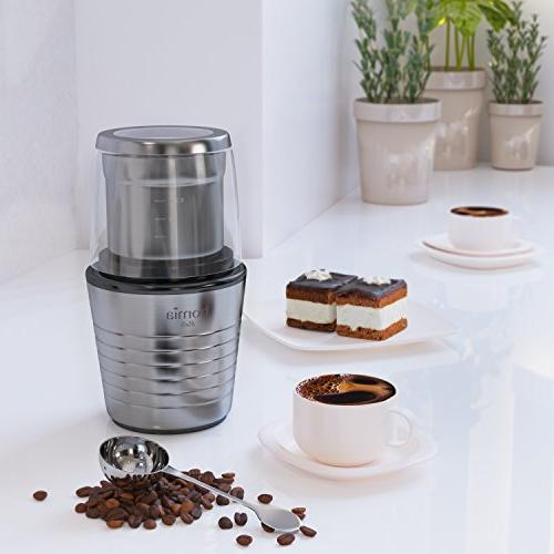 Coffee Spice Grinder Set - Electric with Grinding for Dry and Ingredients Measuring Spoon Cleaning Brush, Stainless Steel Body