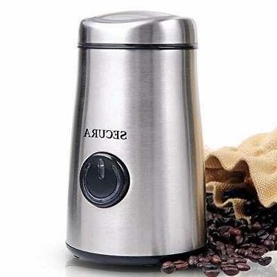 electric coffee and spice grinder with stainless