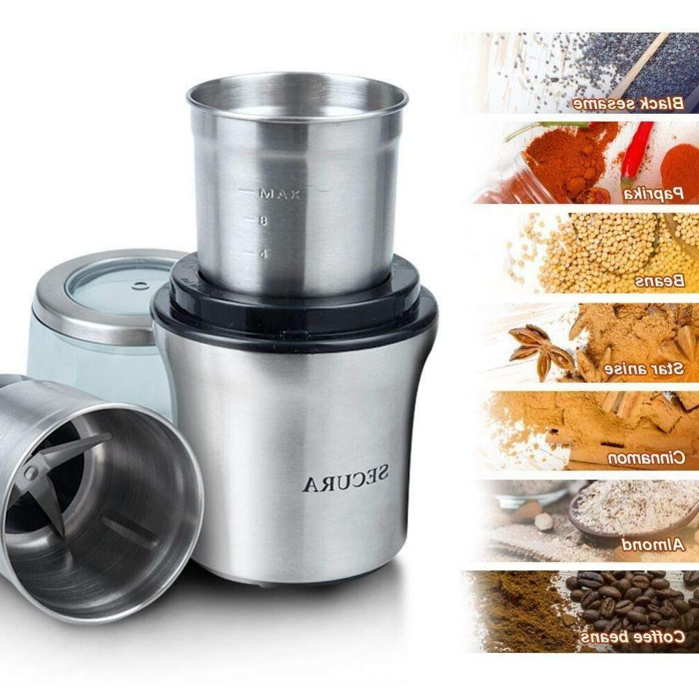 Electric Grinder & Spices 2 Stainless-Steel Blades Bowl