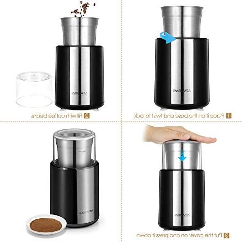 AEVOBAS Electric Grinder Coffee Bean Spice Grinding Machine Stainless Blade Multifunction Household Mill with A