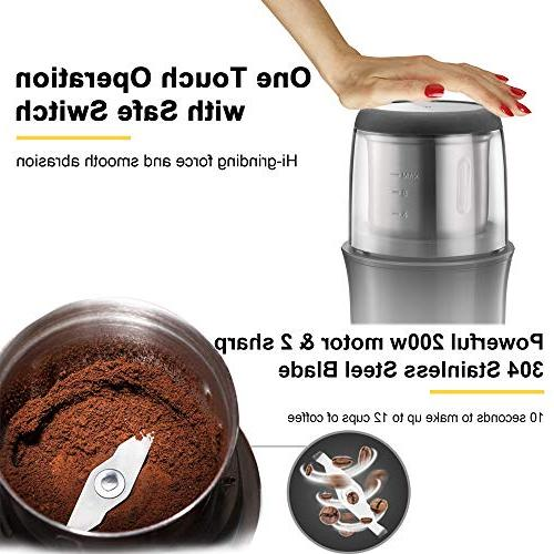 Electric Grinder Portable Coffee Steel Powder 12 for Coffee Beans, Seeds, Herbs, Grains Portable Office Travel
