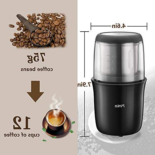 Coffee Grinde with Stainless Steel Powder Bowl Up 12 Grinding Coffee Beans, Seeds, Spices, Herbs, Dried and Grains Portable Office