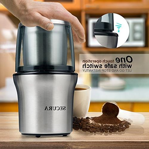 Secura Electric Coffee Grinder & Spice Grinder 2 Stainless-Steel Blades Removable Bowl