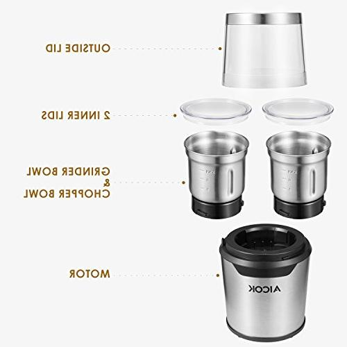 Aicok Electric Stainless Steel Grinder Combo Two Bowls with Capacity Powerful Motor, 200W