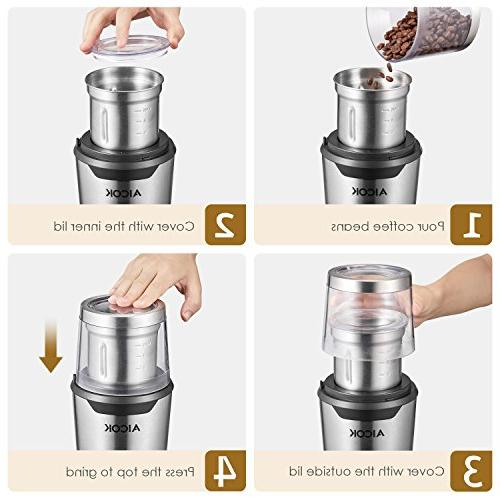 Aicok Coffee Stainless Steel Grinder and Wet/Dry Grinder Combo Pack, 200W