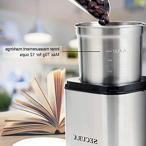 Secura Electric Coffee & Spice Grinder Grinders and Spices with 2.5 Bowl Stainless Steel