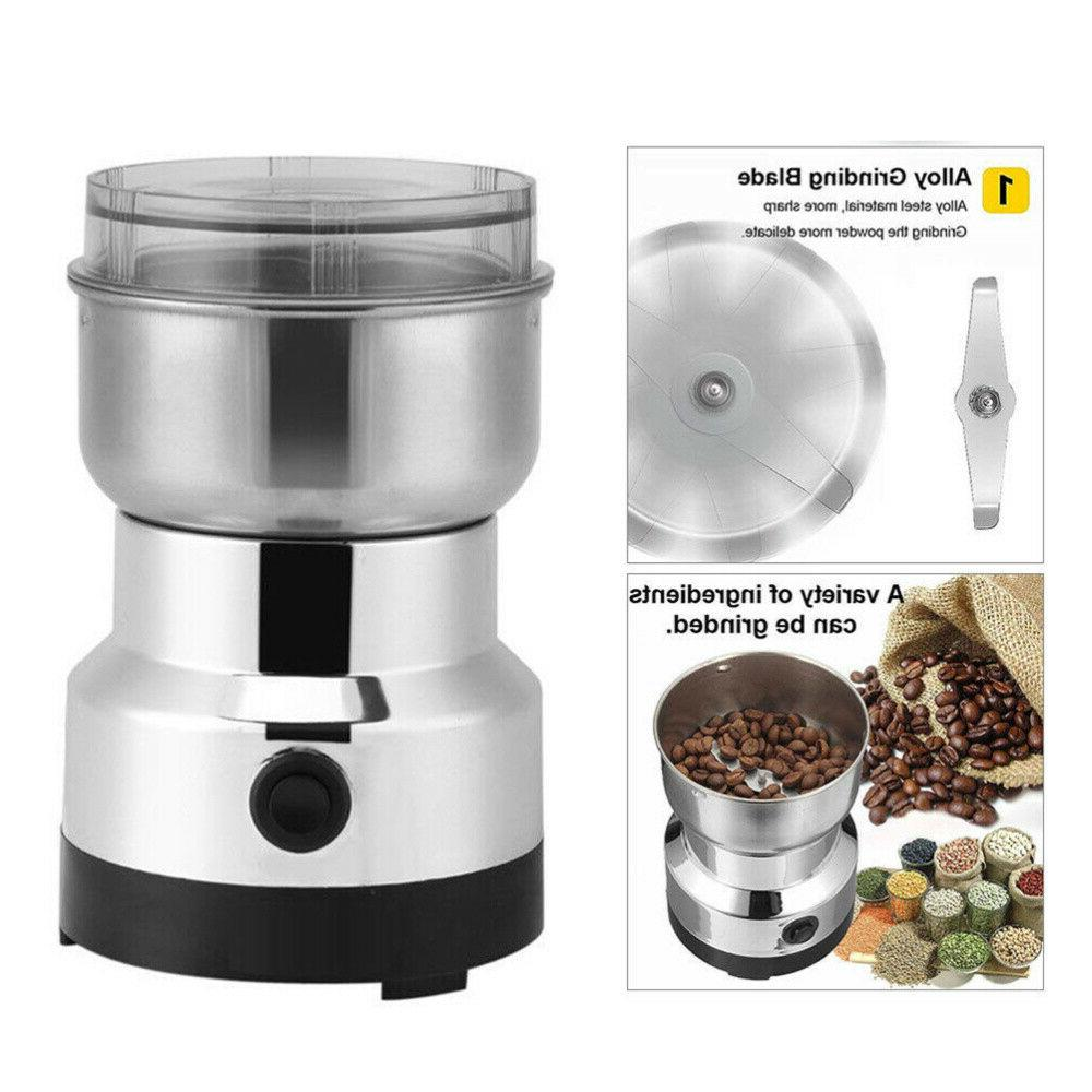 Electric Stainless Steel Coffee Bean Spice Grinder Home Mill