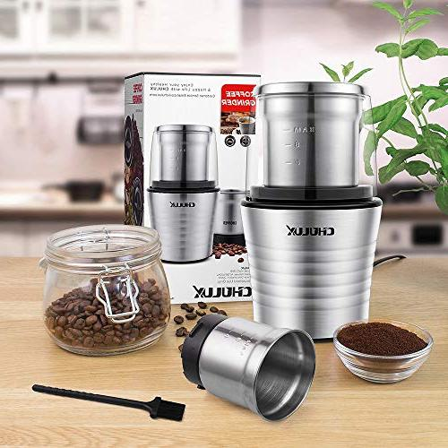 CHULUX Spices Coffee Ounce Two Detachable Cups for Steel Blades Brush