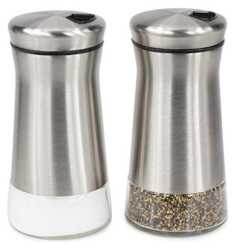 Elegant Stainless Steel Perfect Dispenser Set Salt Pepper Shakers Adjustable Holes