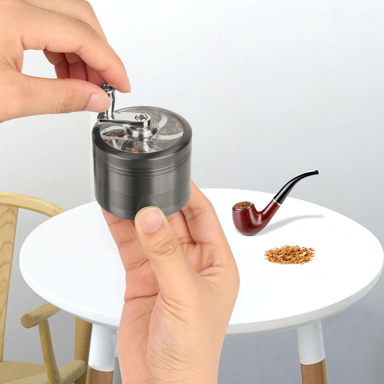 "Herb Crusher Tobacco 2.5"" Zinc Hand Spice Silver"