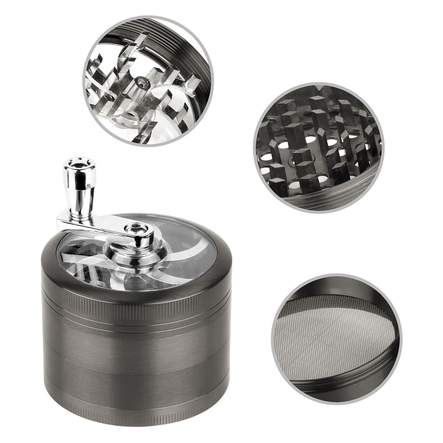 Herb Grinder Crusher for Tobacco Piece Zinc Hand Muller Spice Silver 4pc