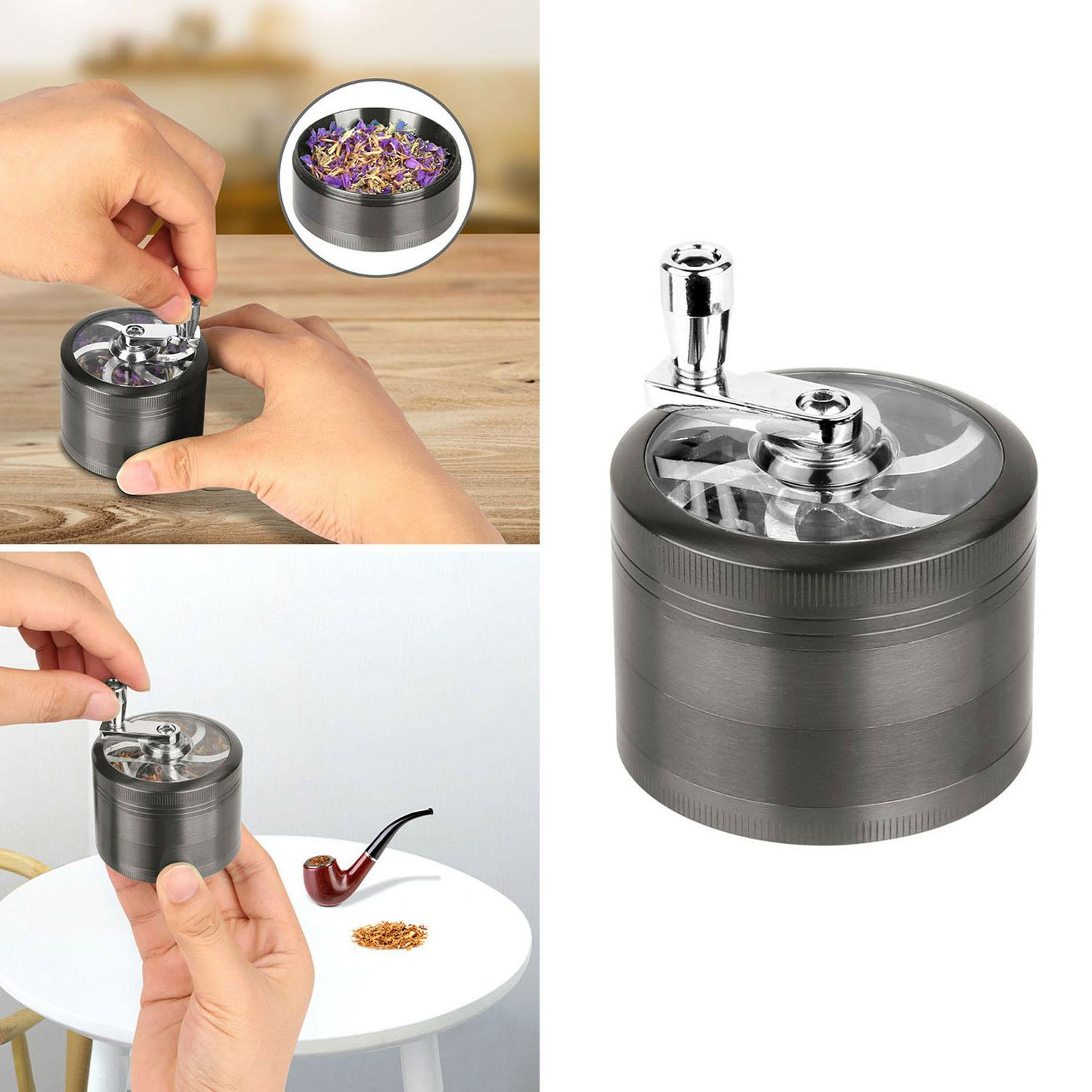 Herb Grinder Crusher for Tobacco Piece Zinc Spice Silver 4pc
