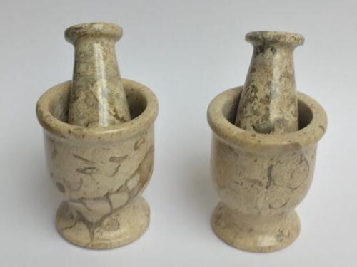 Mortar And Fossil Spice Herb Pestle.