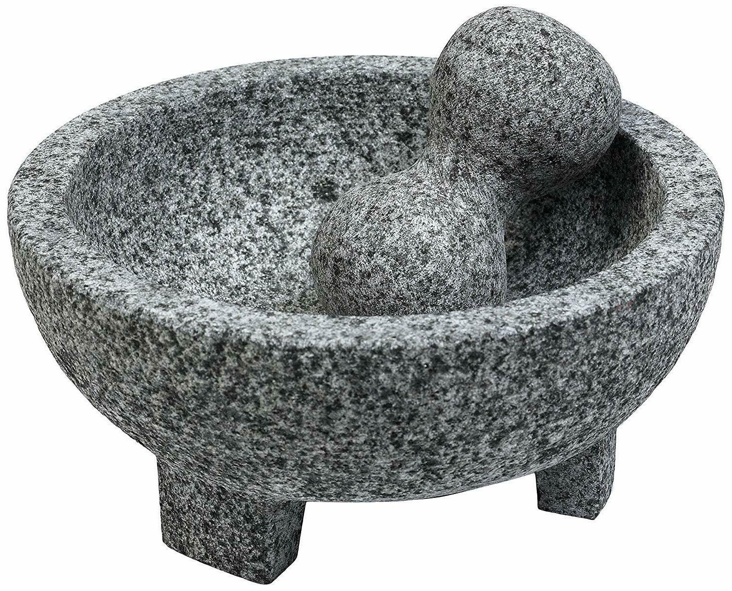 Mortar Pestles Granite Molcajete Spice Grinder 6 in. Gray Be