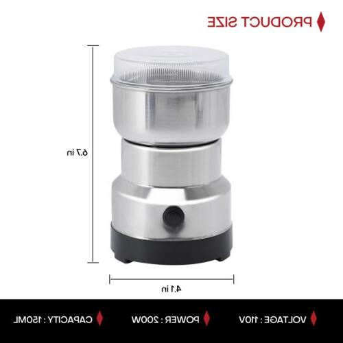 Portable Electric Coffee Grinder Bean Nut Grind Crusher Mill